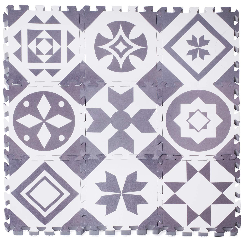 Reusable Gray Foam Play Mat Foam Floor Tiles Soft Play Mats for Infants Easy to Clean Non-Toxic Dooboe Play Mat