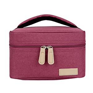 Insulated Cooler Bag, Well Made Breastmilk Cooler Bag Fits for 4 Medela Pump Bottles with Zipper and Mesh Pocket, Ice Pack Not Included… (Wine Red)