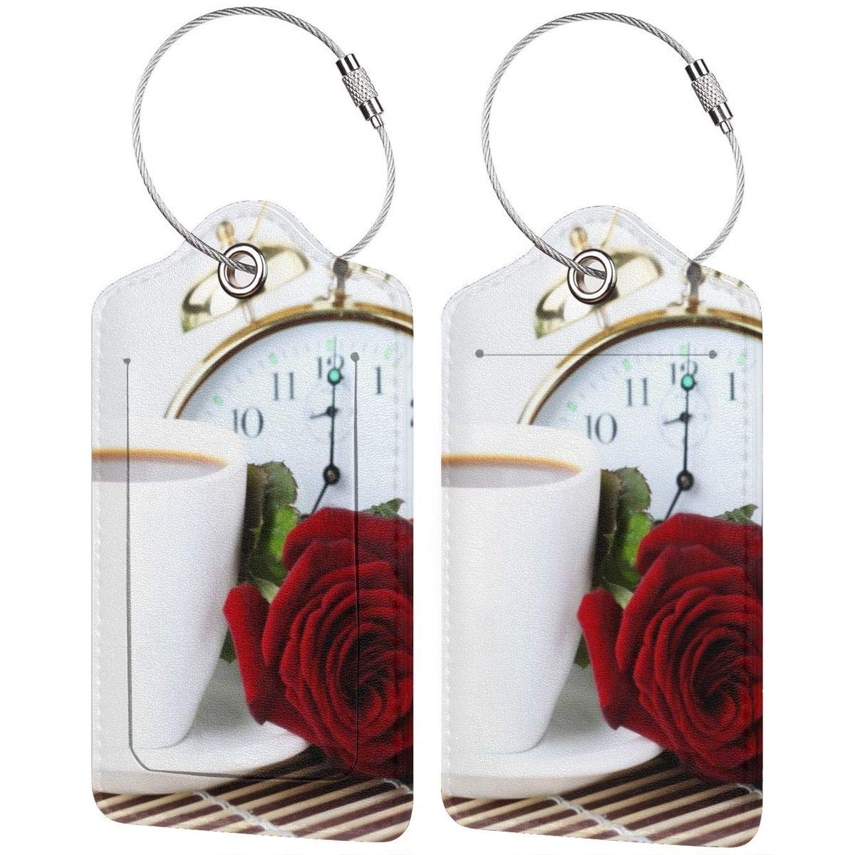 Coffee Morning Luggage Tag Label Travel Bag Label With Privacy Cover Luggage Tag Leather Personalized Suitcase Tag Travel Accessories