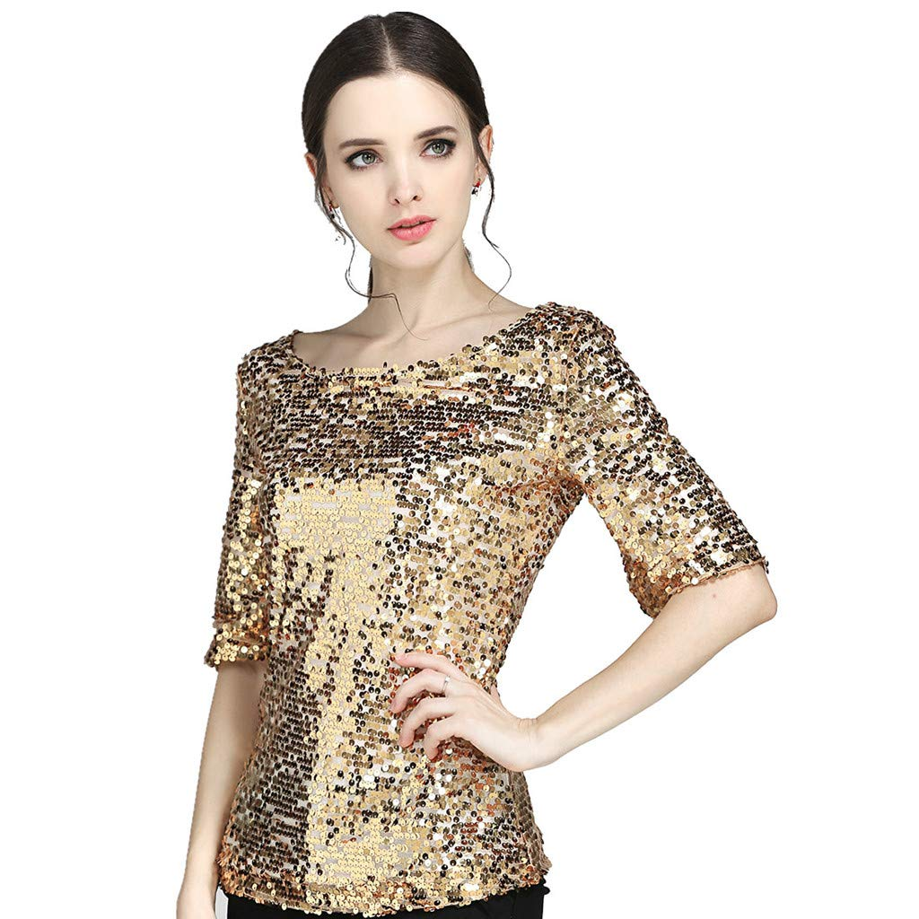 a2960754661 Amazon.com  Plus Size Women s Sequins Summer Short Sleeve Nightclub Dress  Sparkle Coctail Party Casual Blouse Crop Tops Shirt  Clothing