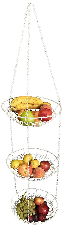 Obstkorb Set zum Aufhängen - 3 Fruchtkörbe Weiß ca. 130 x 30 x 30 cm - Hänge Etagere mit Haken und Kette aus Metall Grinscard