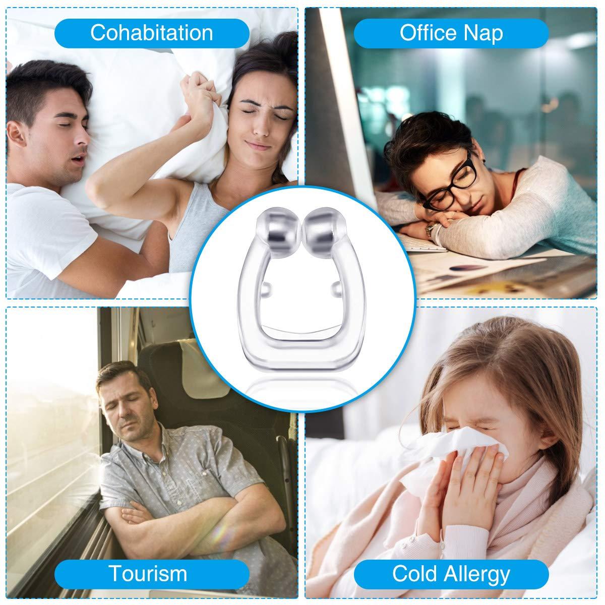 LIUMY Dispositivos Anti Ronquidos,4 PCS Dispositivos Antirronquidos Magn/ético Clip anti ronquidos soluciones,Dilatador nasal con imanes para una c/ómoda congesti/ón para dormir transparente