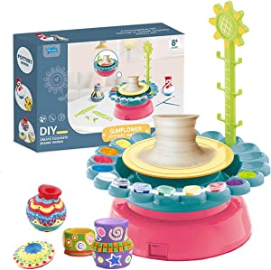 LHChan Pottery Wheel for Kids Beginners,DIY Pottery Studio,Pottery Wheels & Accessories with 2 Clay/Apron/Craft Paint Kit,Ceramic Wheel Machine,Art Craft Kit Educational Toy for Children