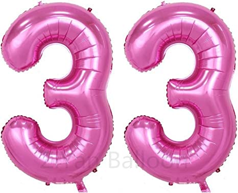 34 Red Large Helium Friendly Foil Number Balloons decorations for Birthday Parties