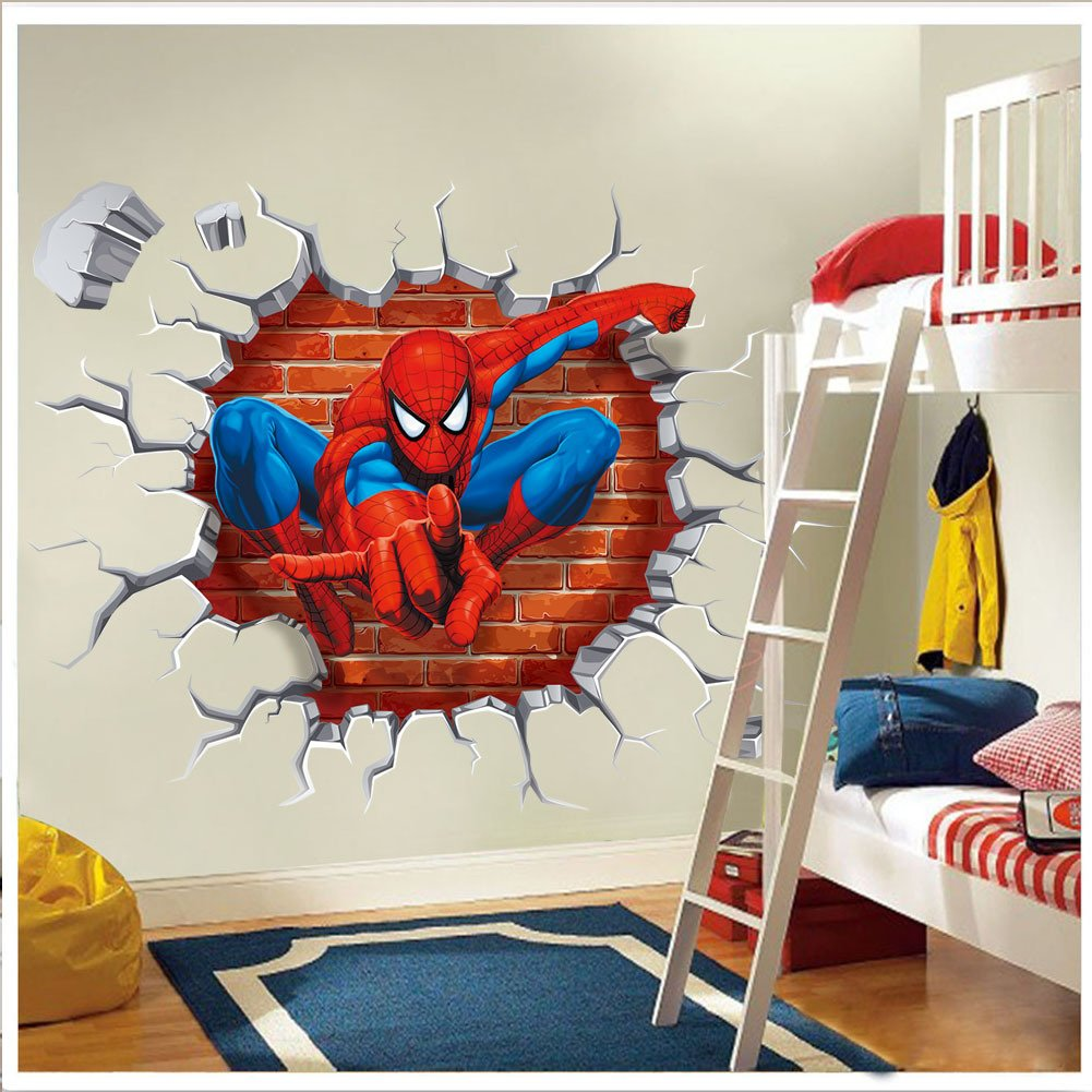 Incroyable Removable 3D View Art Mural Vinyl Waterproof Wall Stickers Kids Room  Nursery Decor Decal Sticker (Spider Man Through Wall): Amazon.ca: Home U0026  Kitchen