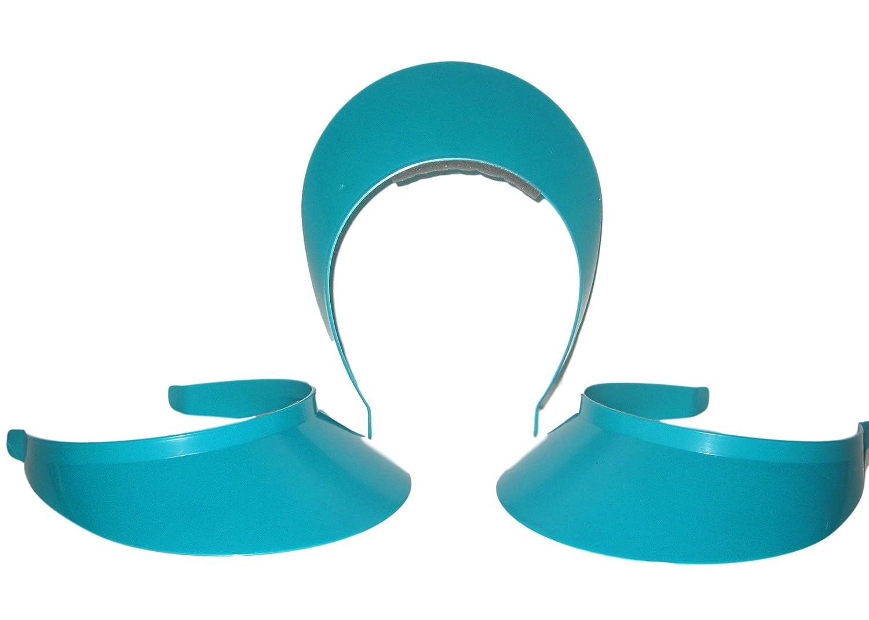 3 Teal Women's Adult Plastic Sun Visors Talisman