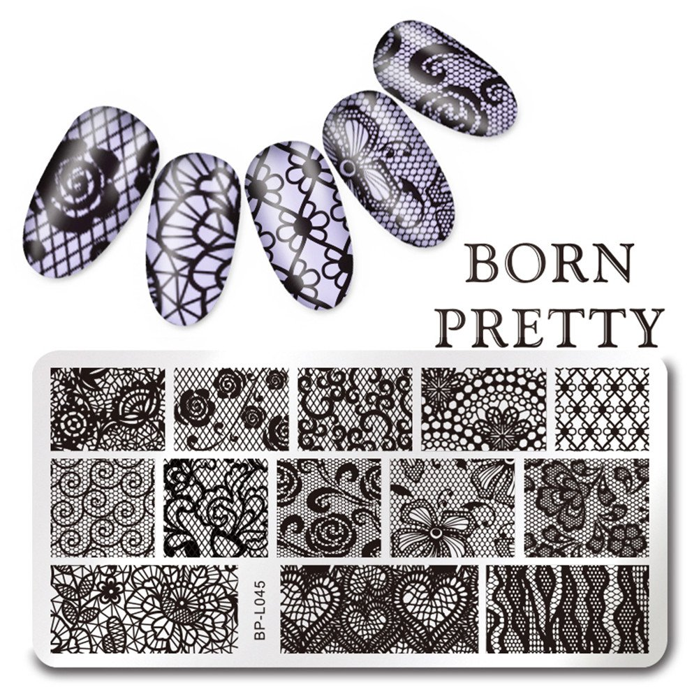 Born Pretty 12x6cm Lace Nail Art Stamping Plate Flower Image Plate BP-L045