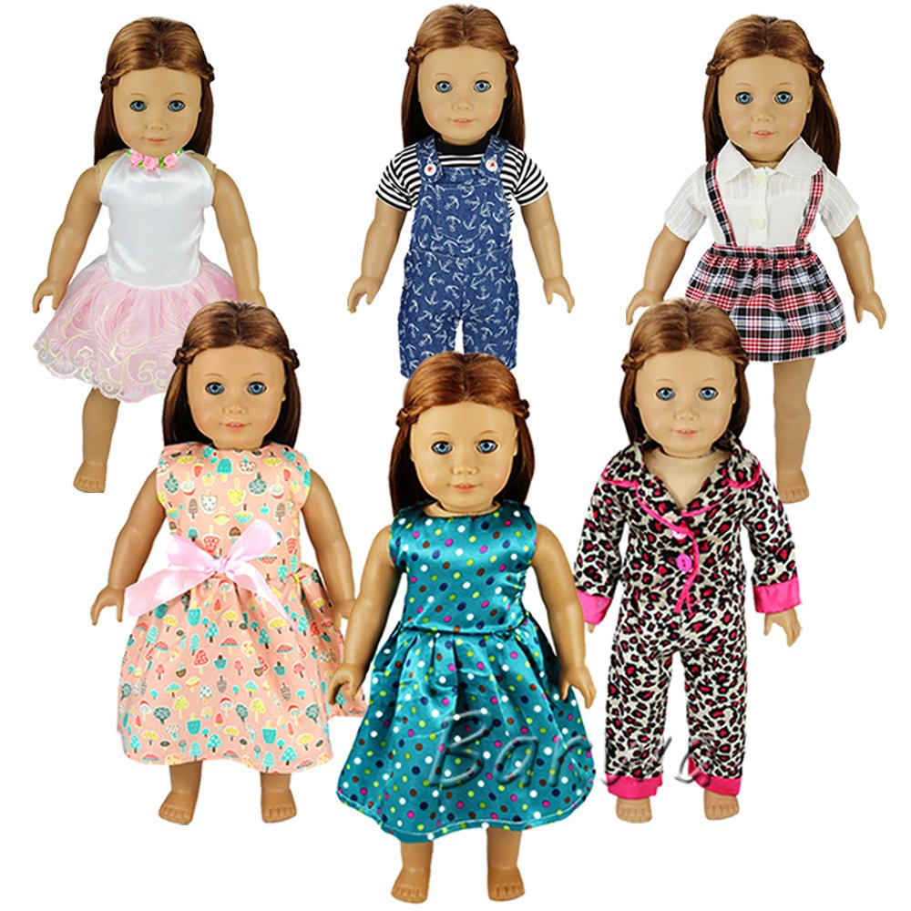 Barwa 6 Sets Causal Clothes Outfits for 18 American Girl Doll Handmade High Quality Clothing Dress