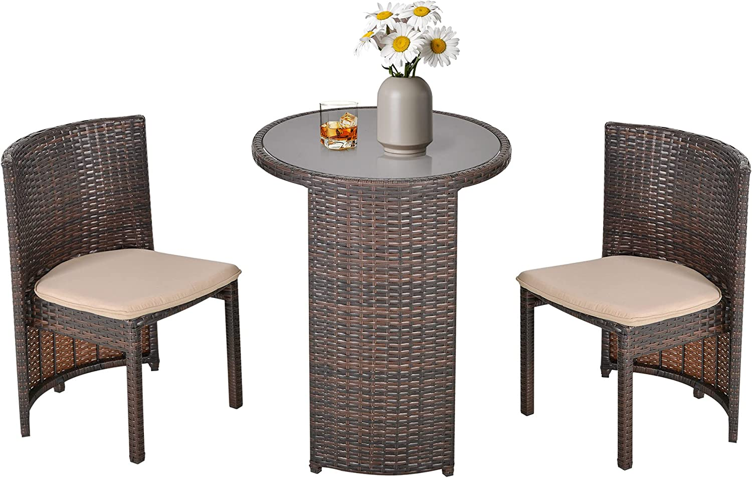 Outsunny 3 PCS Outdoor Rattan Wicker Bistro Set with Storage Shelf, Glass Top Table, Soft Cushioned Chairs and Space Saving Design, Patio Conversation Set for Garden Backyard Porch, Brown
