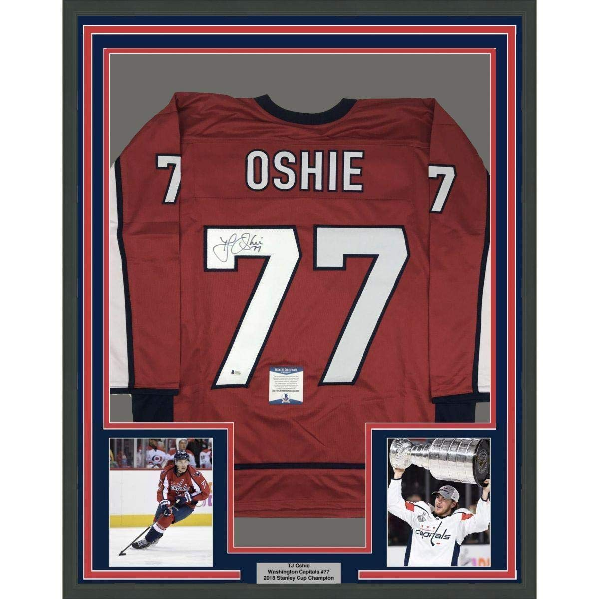 3787bd819 Signed T.J. Oshie Jersey - FRAMED TJ 33x42 Red Beckett COA - Beckett  Authentication - Autographed NHL Jerseys at Amazon s Sports Collectibles  Store