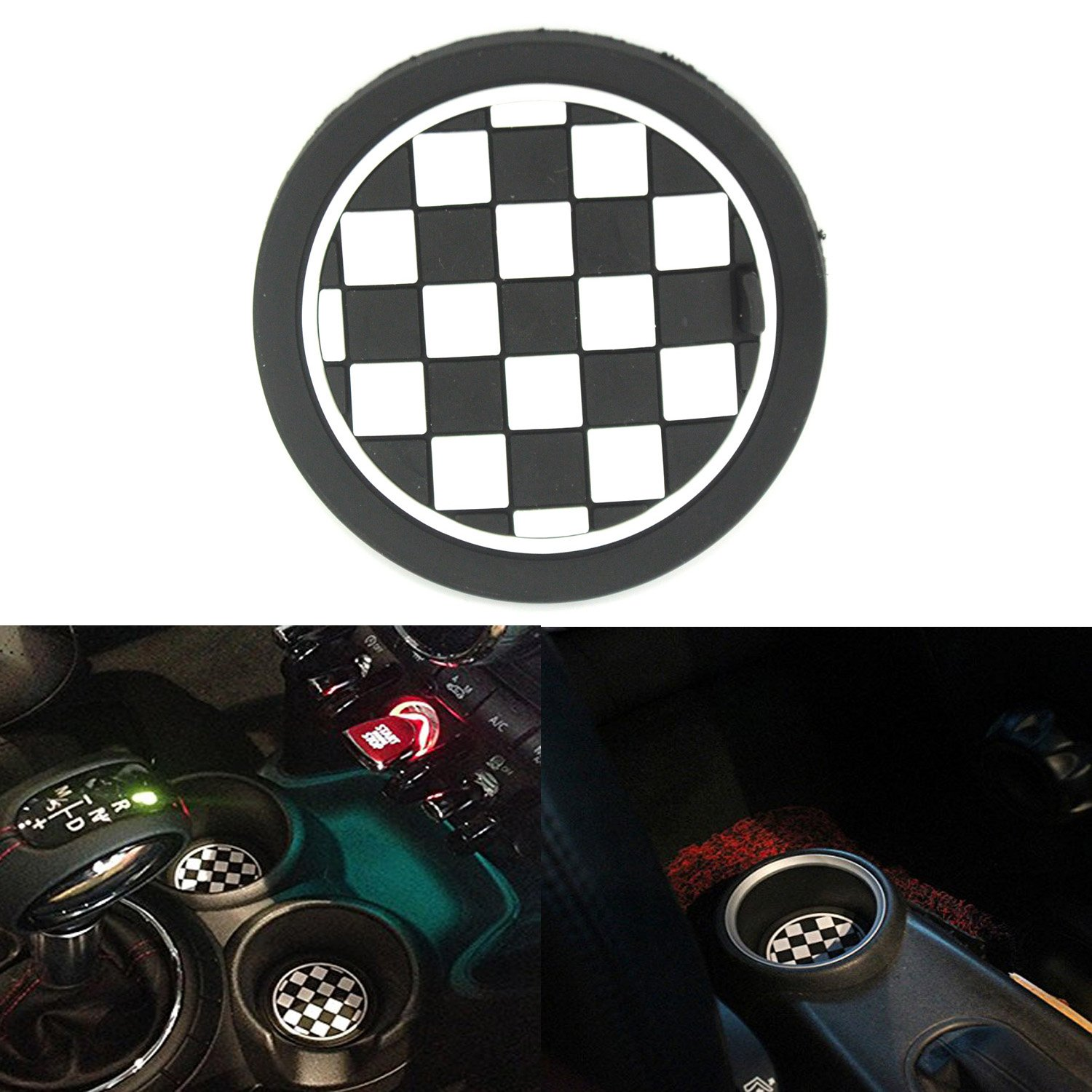 ASUMAN 2PCS 73mm Black/White Checkered Checkerboard Pattern Anti Slip Soft Silicone Cup Holder Car Coasters Cup Mat For MINI Cooper R55 R56 R57 R58 R59 Front Cup Holders ASUMAN BEAU