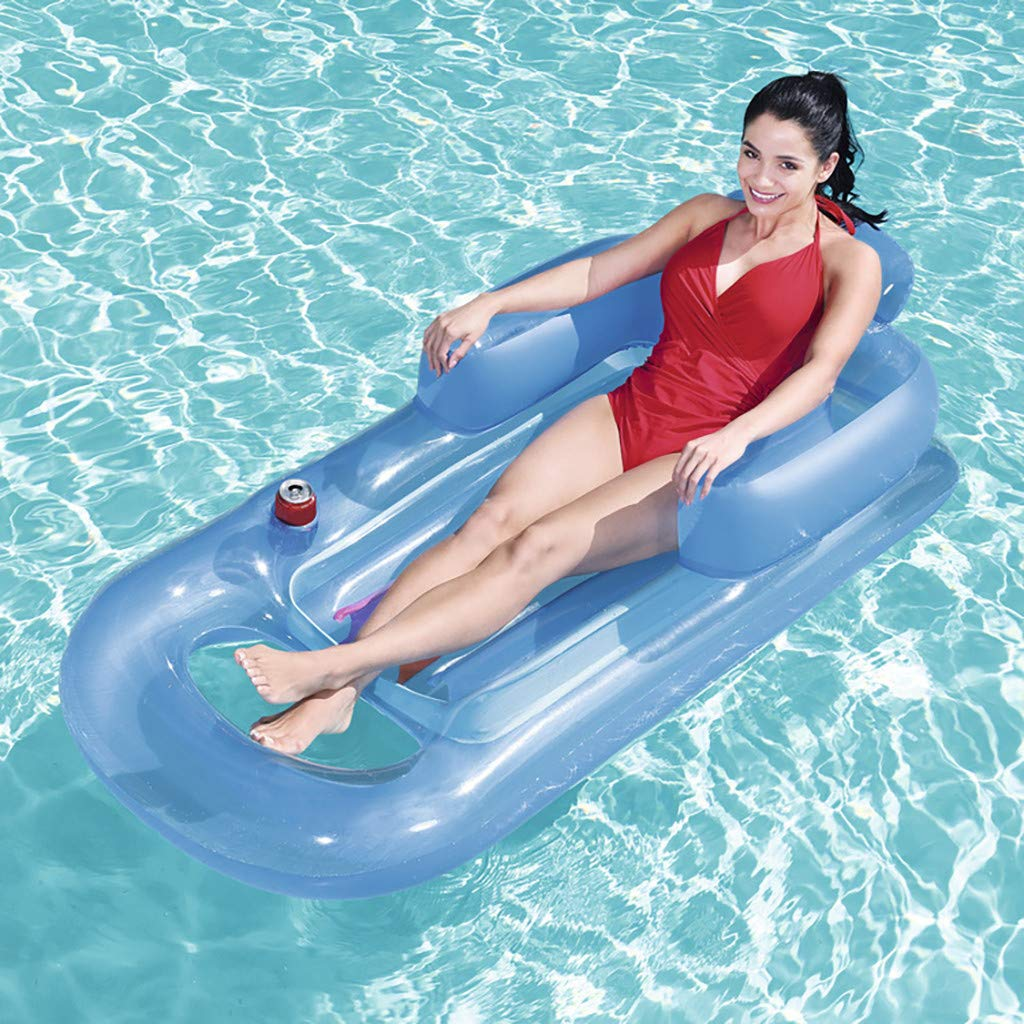 Swimming Pool Inflatable Seat Summer Water Floating Toys SMyFone Backrest Seated Luxury Inflatable Floating Pool,Kids and Adult Swimming Inflatable Portable Pool Float Bed