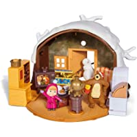 Simba - Masha & Michka - Hutte de Masha Hiver + 2 Figurines et 1 Bonhomme de Neige