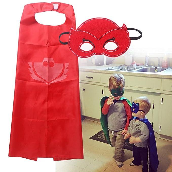 YL PJ máscaras disfraces Set de 3 Catboy Owlette Gekko máscara con capa y pulsera: Amazon.es: Juguetes y juegos