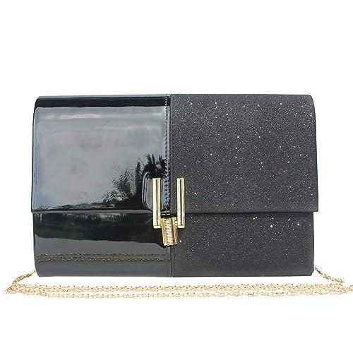 33c2009f6 Womens Glitter Evening Clutch Bag Purse for Wedding Party .(Black ...