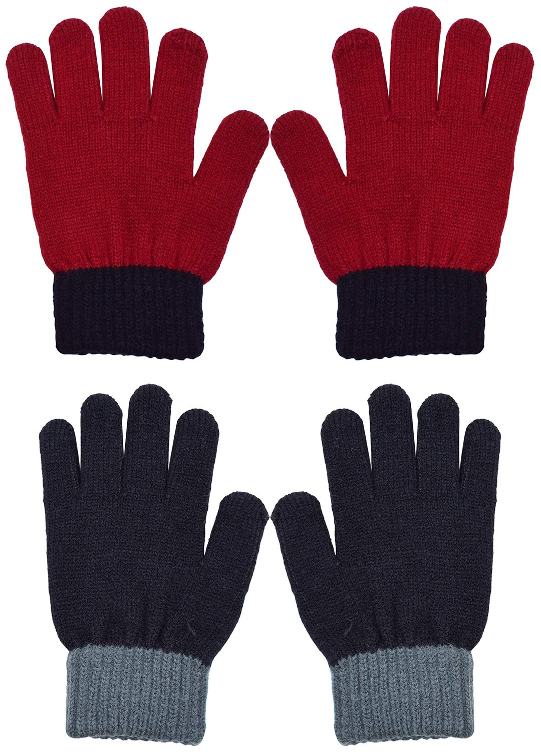 WDSKY Kids Gloves Winter Magic Wool Knit Stretchy 2 Pairs Red Black