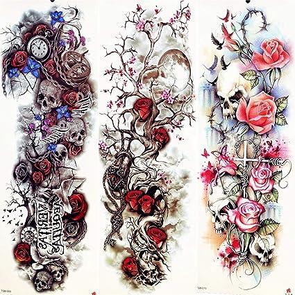 MRKAL Tatuaje Falso Tatuaje 3D Plum Blossom Luna Árbol Rosa Roja ...