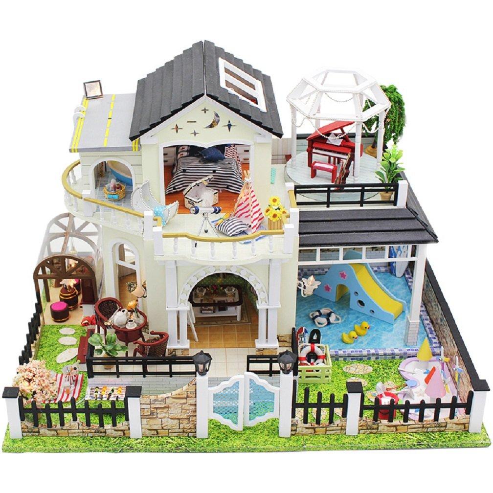 人形HouseミニチュアDIYドールハウス家具木製Houseおもちゃfor子供誕生日ギフト B076SPBYF4