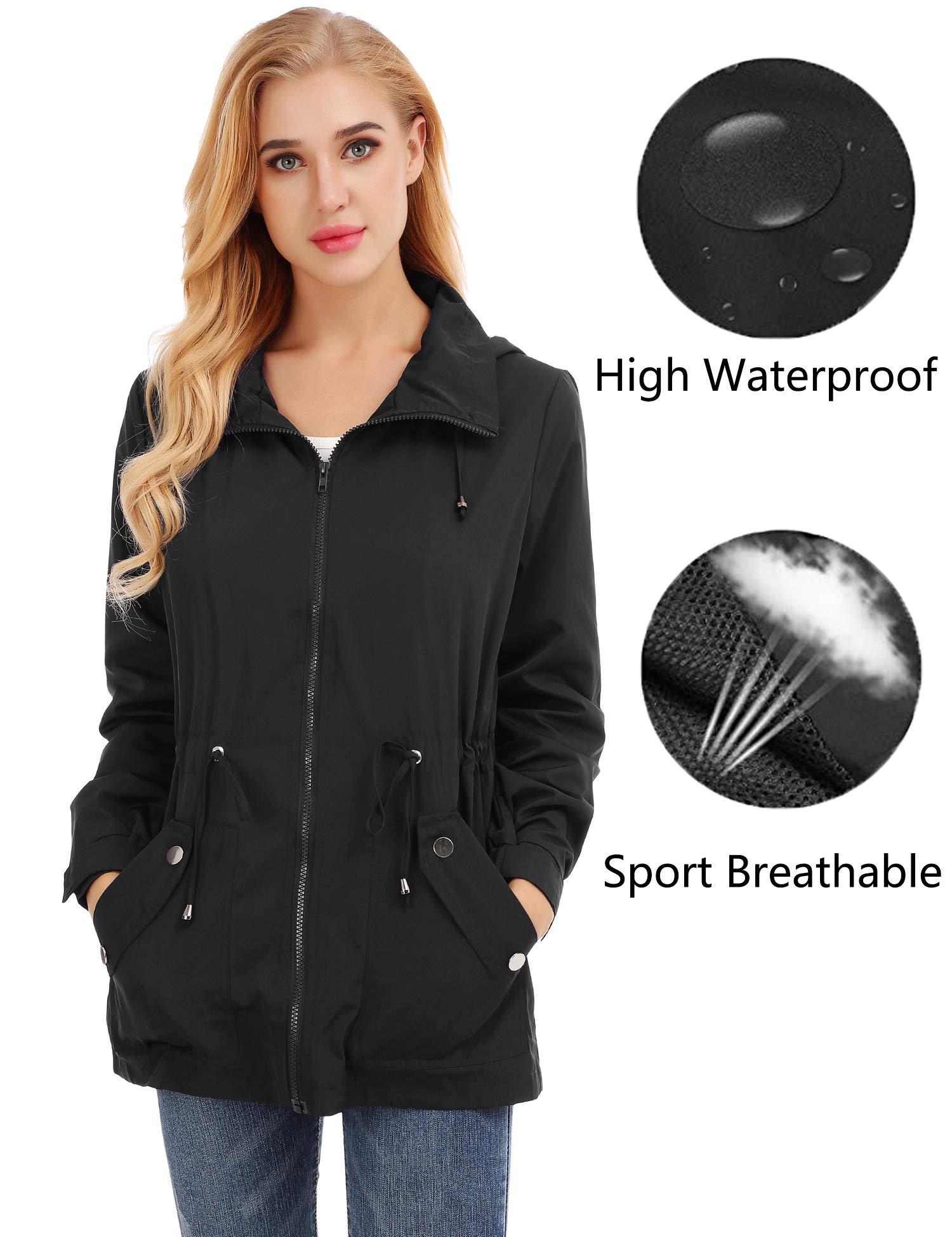 FISOUL Raincoats Women's Waterproof Lightweight Rain Jacket Outdoor Hooded Trench Black XL