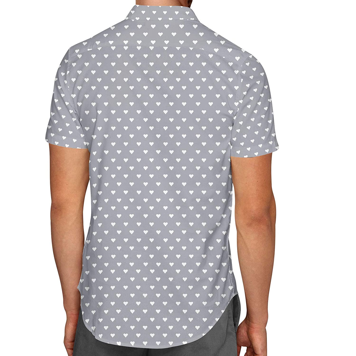 Mini Hearts on Grey Mens Button Down Short Sleeve Shirt