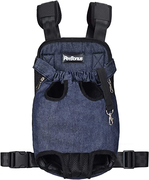 PetBonus Denim Front Kangaroo Pouch Dog Carrier, Wide Straps with Shoulder Pads, Adjustable and Legs Out Pet Backpack Carrier, for Walking, Travel, Hiking, Camping