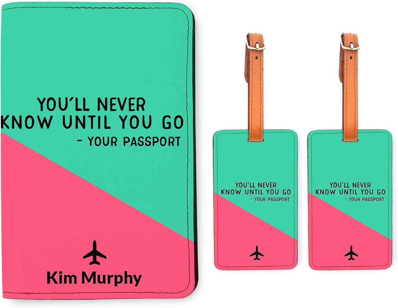 Snogisa African American Women Passport Holder Luggage Tag Set Black Travel Wallet Accessories for Women Men
