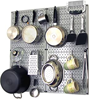 product image for Wall Control Kitchen Pegboard Organizer Pots and Pans Pegboard Pack Storage and Organization Kit with Grey Pegboard and White Accessories