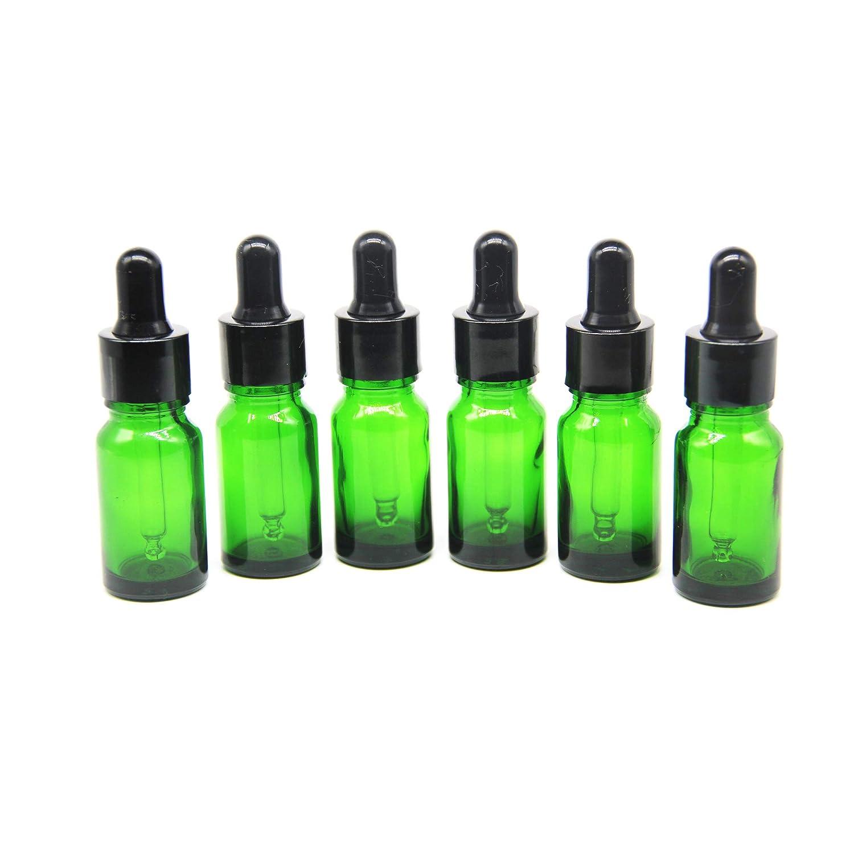 Yizhao Verde Frasco Cuentagotas Cristal 10ml, Botellas Cuentagotas con [Pipeta Cuentagotas Cristal], para Aceite Esencial, Masaje,Fragancia, Aromaterapia, Laboratorio, E-Líquidos - 12Pcs