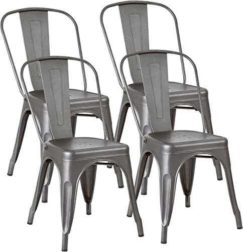 JUMMICO Metal Dining Chair Stackable Indoor-Outdoor Industrial Vintage Chairs Bistro Kitchen Cafe Side Chairs with Back Set of 4 Grey