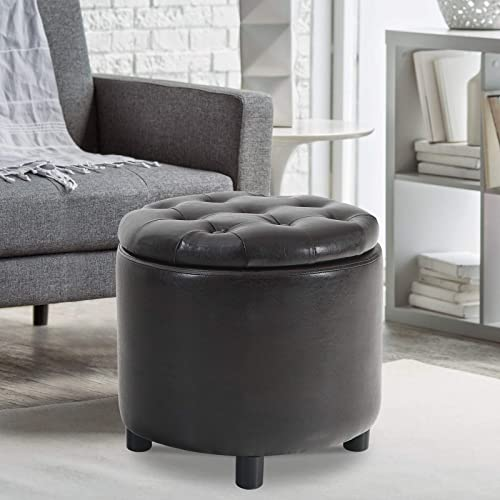 MAISON ARTS Round Storage Ottoman Vanity Stool Tufted Pouf Ottoman Coffee Table Side Table Foot Stool