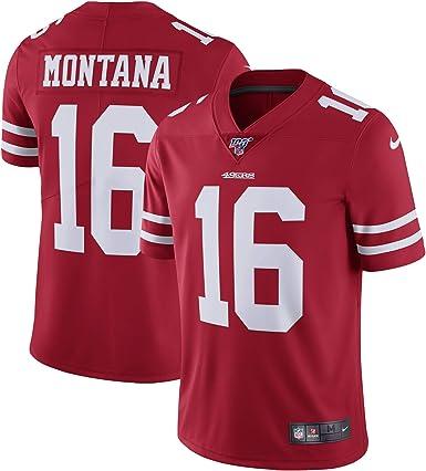 ZSMJ Custom Jersey Hombres #16 Montana 49ers Red Joe 100 Vapor Limited Jersey Sportswear Camiseta