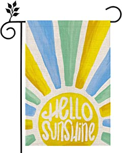 CROWNED BEAUTY Hello Sunshine Summer Garden Flag 12×18 Inch Double Sided Vertical Yard Outdoor Decoration CF149-12