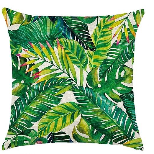 18 * 18inch Plantas Tropicales Cactus Monstera Verano Decorativos Cojines de algodón de Lino del Amortiguador de la Cubierta de Hoja de Palma Verde ...