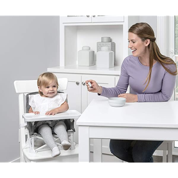 Regalo My High Chair Portable Travel Fold /& Go Highchair Includes Travel Case and Tray with Cup Holder Bonus Kit Grey Indoor and Outdoor