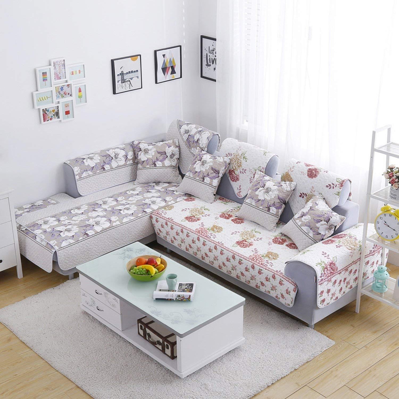 Amazon.com: L Shaped Sofa Cover Reversible Printed Cotton ...