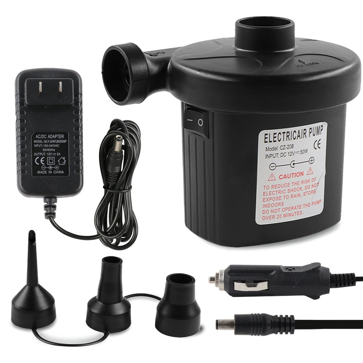 POKONBOY Electric Air Pump for Inflatables 110V AC/12V DC Quick-Fill Pump for Outdoor Inflatables Pool Toys Black