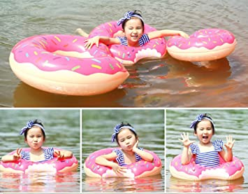 Anillo de Natación For Niños, 2 Pcs Verano Anillo Hinchable Donuts Diseño Estilo Natación Anillos 60cm Pool Fun Float Juguetes Inflables para Niños Inflable ...