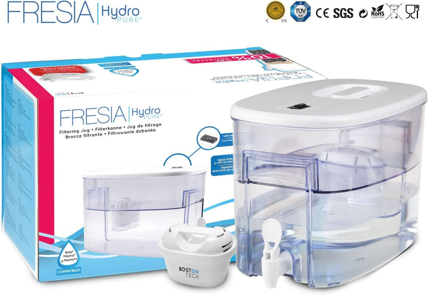 Boston Tech Fresia, dispensador de Agua Filtrada Compatible con filtros Brita Maxtra 9 litros. Un Filtro de Regalo. (Fresia)
