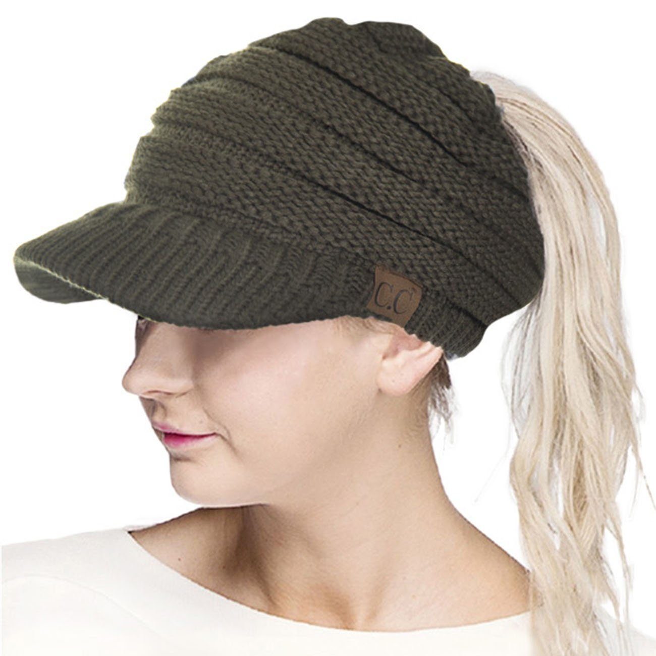 ScarvesMe CC Brim Beanietail Ponytail Messy Bun Solid Ribbed Beanie Hat Sun Cap (New Olive)