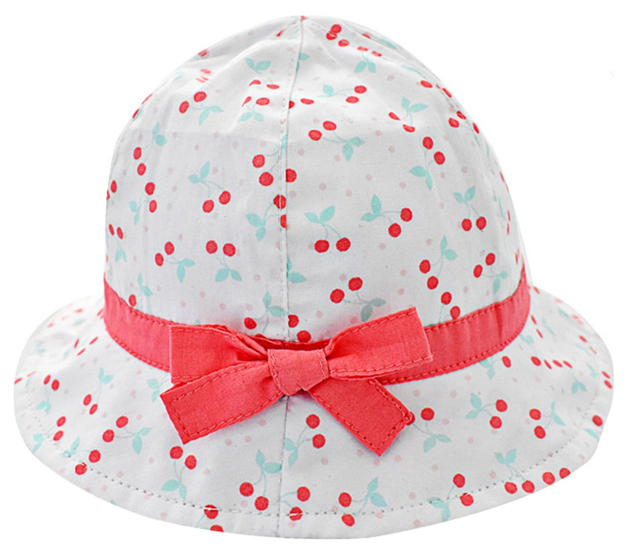 Happy Cherry Quick Dry Bucket Hats Baby/Toddler Girls Sun Hat For Swimming and Sun Protection Fisherman Hat With Bowknot For 10-24 M