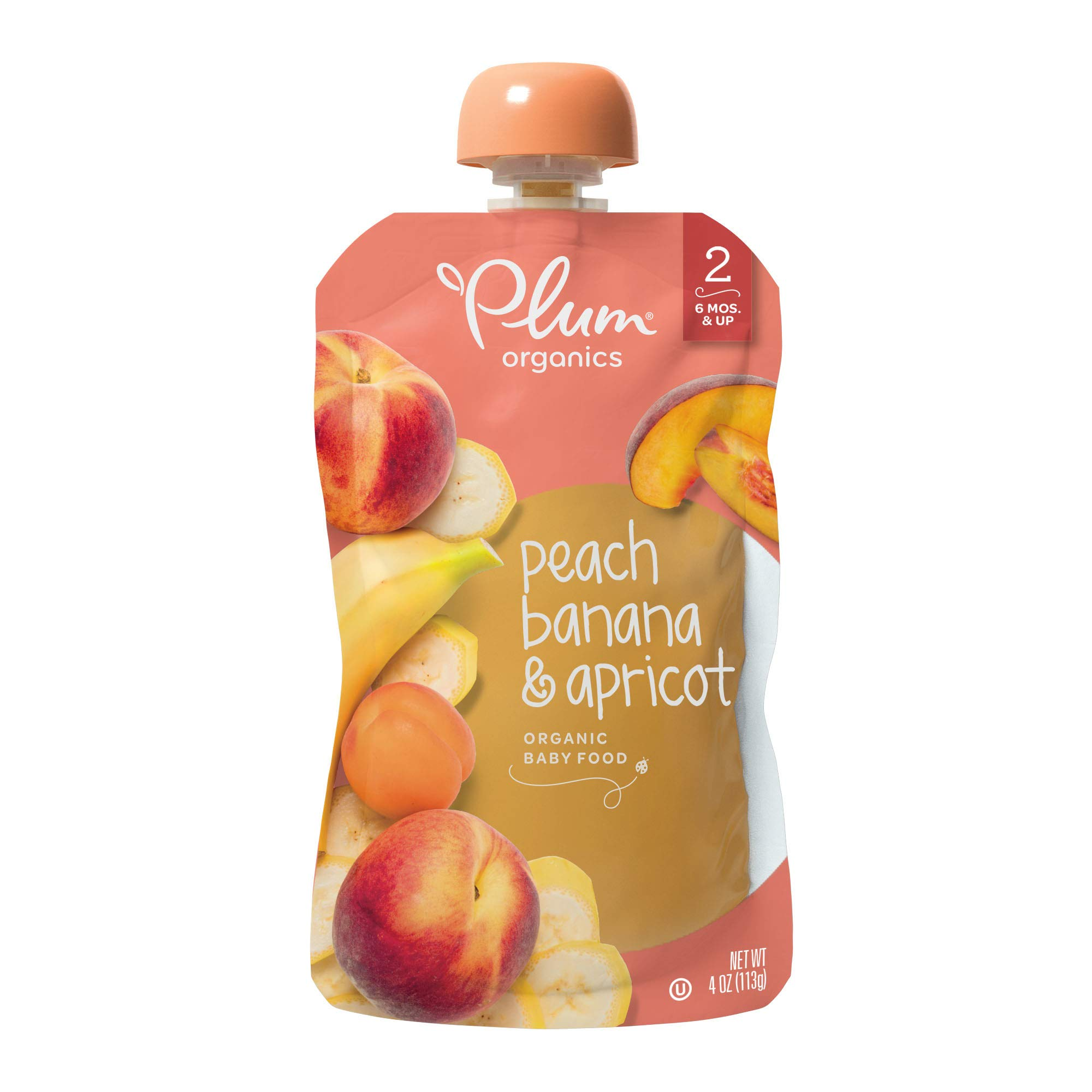 Plum Organics Stage 2, Organic Baby Food, Peach, Banana, and Apricot, 4.0 Ounce