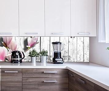 wandmotiv24 Küchenrückwand Holz rosa Blüten Nischenrückwand ...