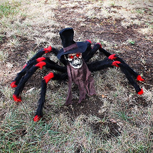 Halloween Haunters 32'' Scary Black & Red Fury Spider with Skull Head Body Prop Decoration - Creepy Flashing Red Eyes - Battery Operated by Halloween Haunters (Image #1)