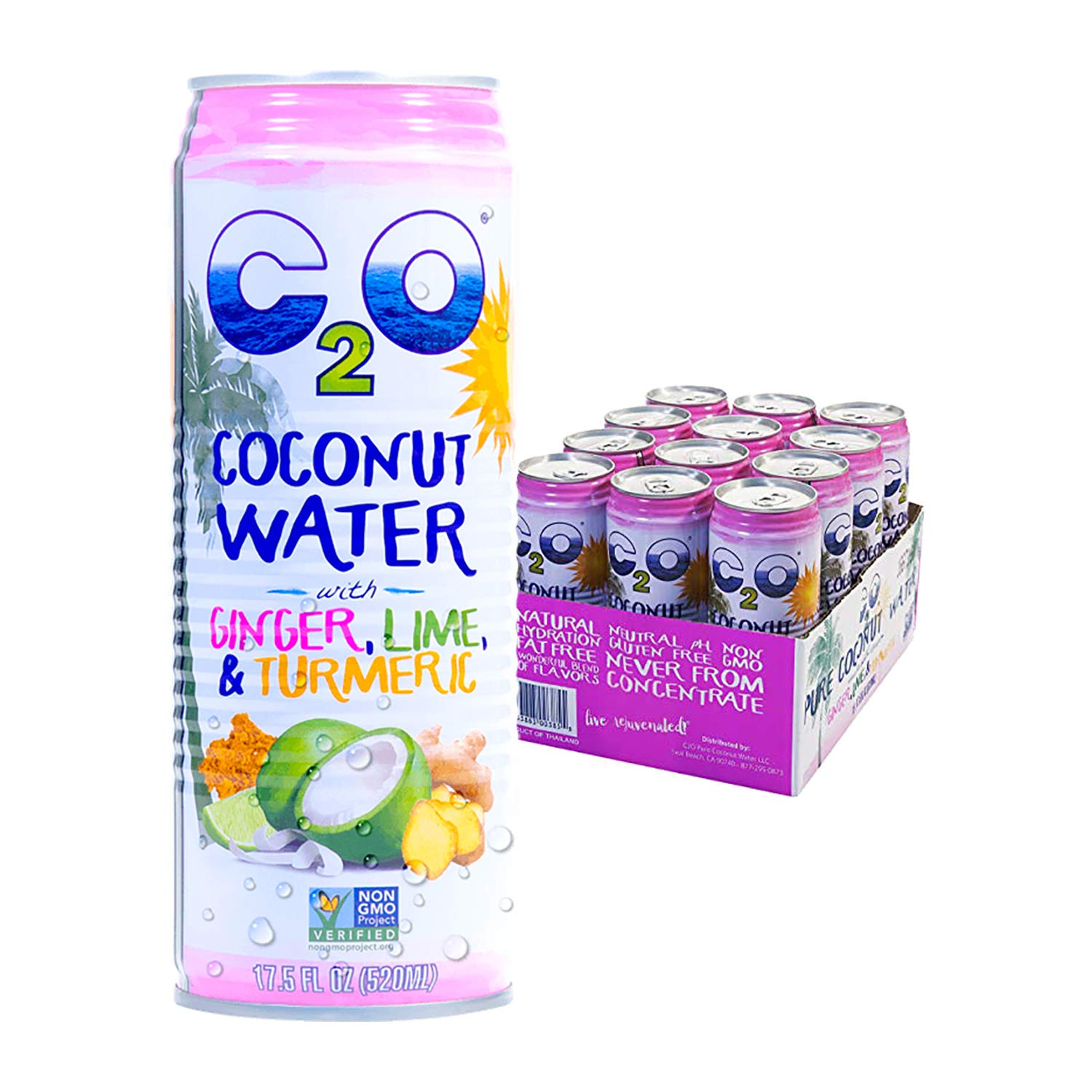 C2O Pure Coconut Water With Ginger, Lime and Turmeric. 100% All Natural Electrolyte Drink - Healthy Alternative to Soda, Coffee, and Sports Drink - Non-GMO, Gluten Free – 17.5 Fluid Ounce (Pack of 12)