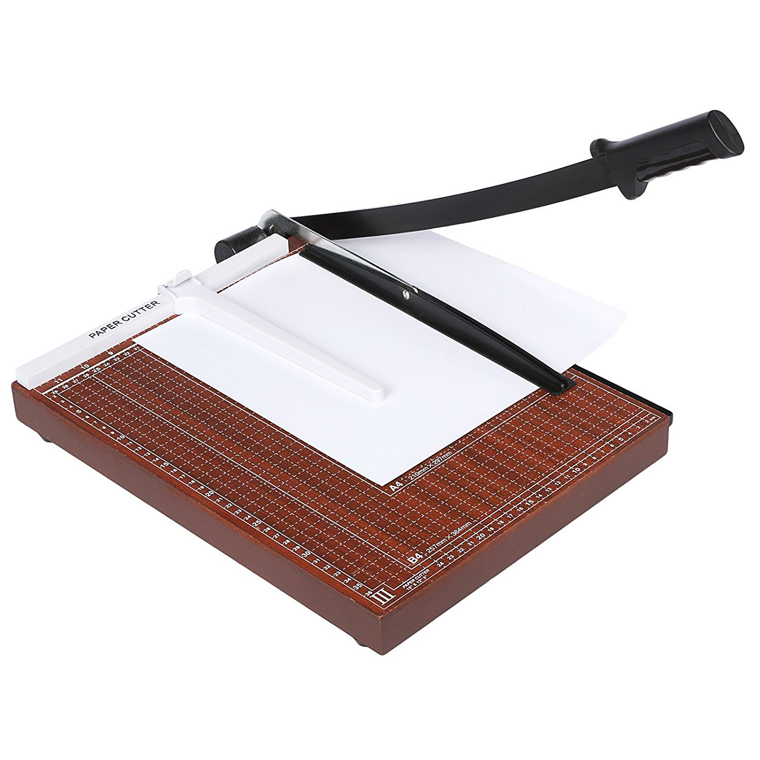 Paper Cutter 15 Inch, Photo Trimmer, Craft Guillotine Stationery for Office, 12 Sheet Capacity, Sturdy Wood Base Rateim