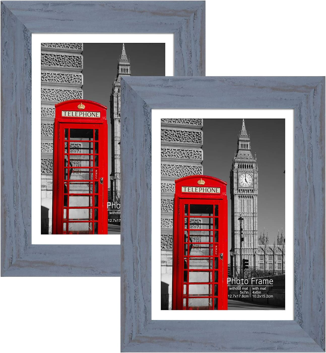 Mosearon Vintage Grey Picture Frame with Real Glass Wall Gallery Photo Frames for Wall or Tabletop Display, 5x7 Set of 2 for Living Room Decor