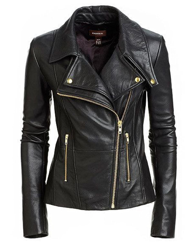 Women Stylish Slimfit Lambskin Genuine Leather Motorcycle Biker Jacket ML_W_590