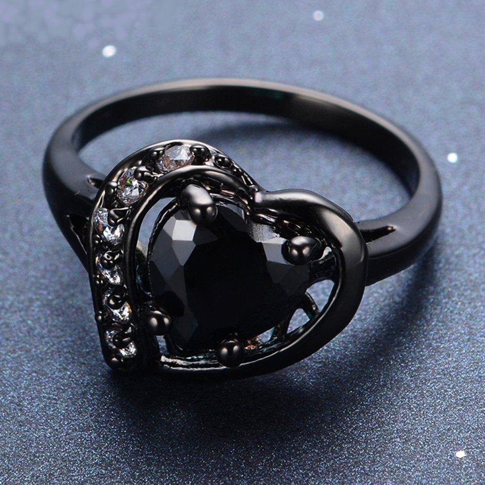 T/&T ring Big Heart Shape Black onyx Vintage Wedding Rings For Women Engagement Wedding Bridal Rings