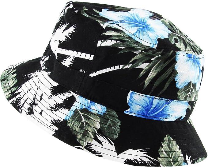 KBM-006 BLK-BLU Floral Print Bucket Hat Hawaii Hat Cap at Amazon Women s  Clothing store  8cb8e08651d4