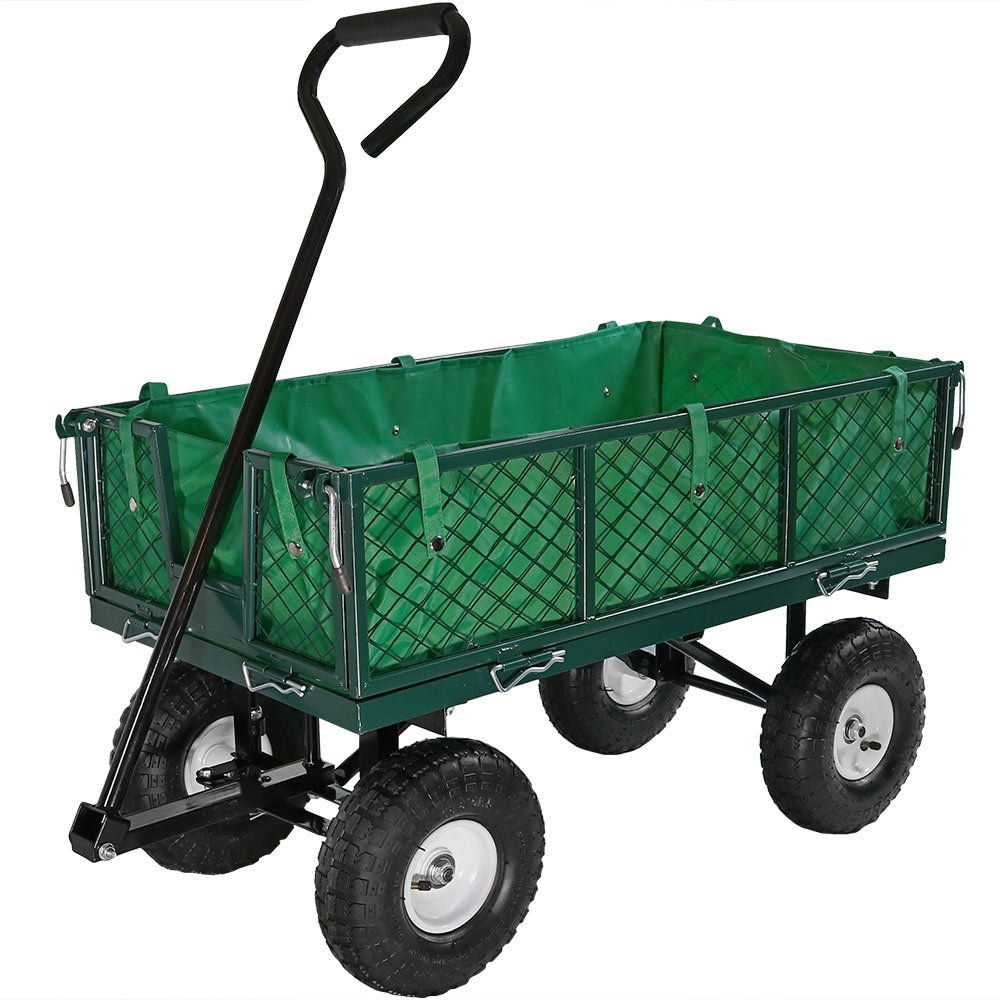Sunnydaze Utility Garden Cart with Foldable Sides, Heavy-Duty 400 Pound Weight Capacity, Green